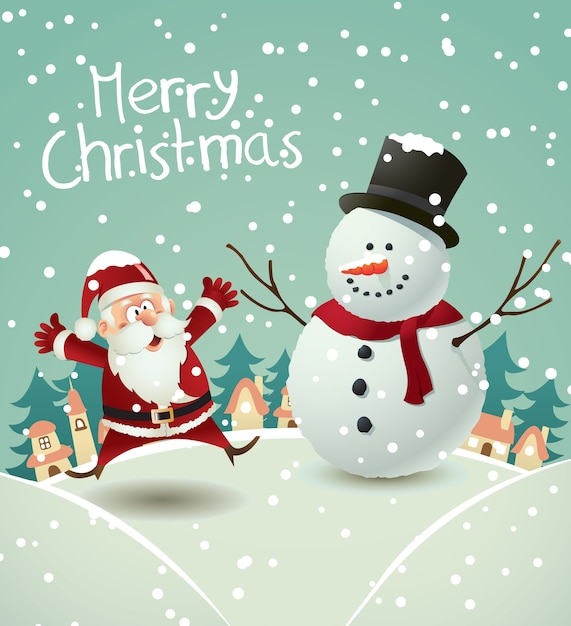 christmas greeting card with santa and snowman premium vector - Santa And Snowman