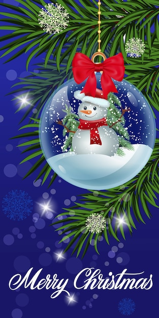 Christmas greeting card with snow globe Vector | Free Download