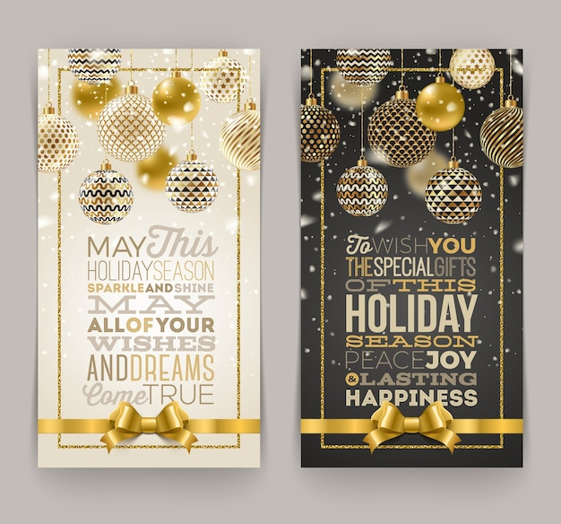 Christmas greeting card with type design and ornate christmas baubles. Premium Vector