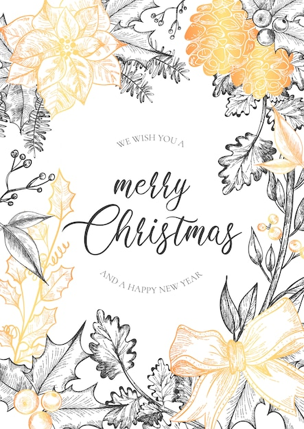 Christmas Greeting Card with Vintage Flowers Free Vector