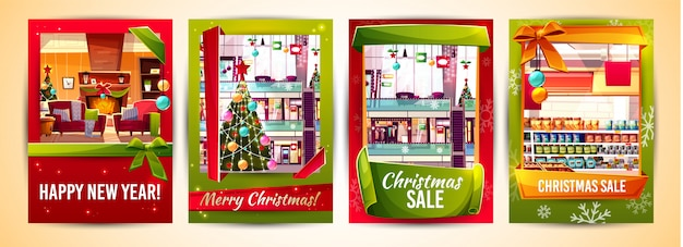 christmas greeting cards and xmas sale poster templates vector