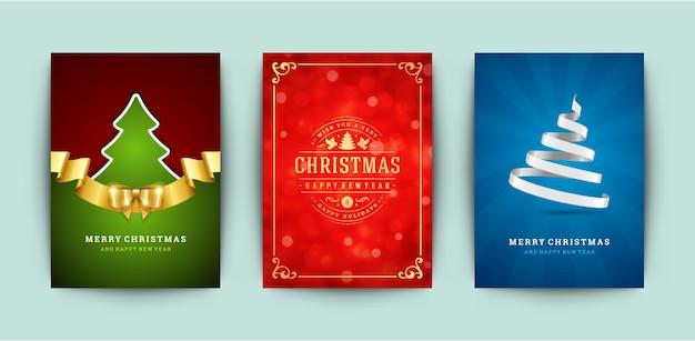 크리스마스 인사말 카드 세트 프리미엄 벡터