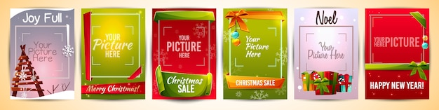 Christmas greeting cards templates illustration with picture photo frame Free Vector