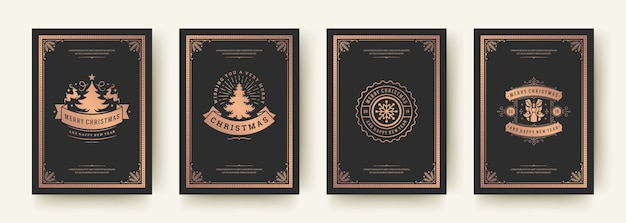 Christmas greeting cards vintage typographic , ornate decorations symbols with winter holidays wishes, floral ornaments and flourish frames. Premium Vector