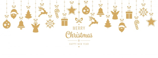 Christmas greeting golden ornament elements hanging isolated Premium Vector