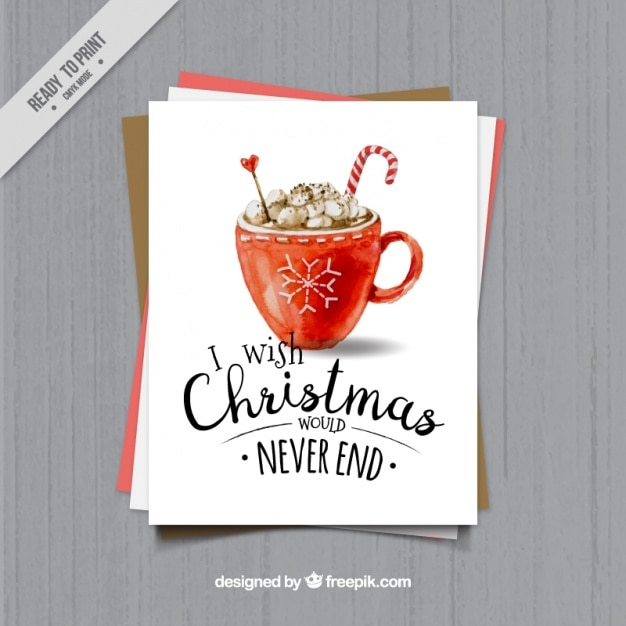Christmas greeting of watercolor cup  Free Vector