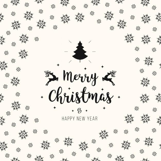 Christmas greeting ornaments card snowflakes pattern Premium Vector