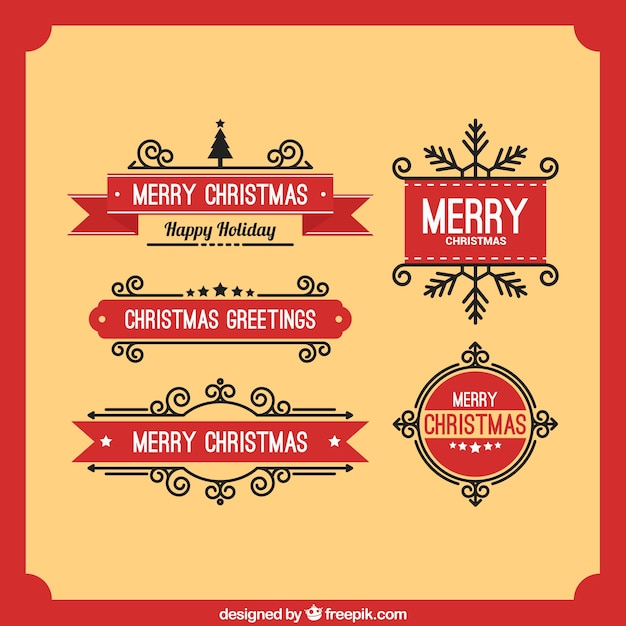 Christmas Greeting Red Label Free Vector