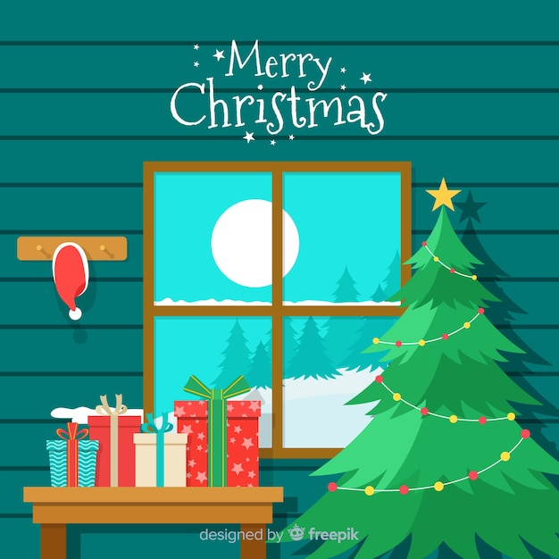 Christmas greeting window cabin ilustration background Free Vector