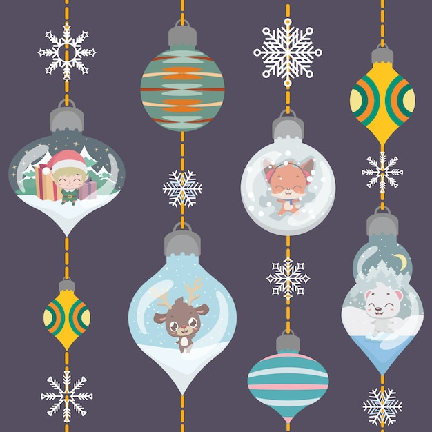 Christmas greeting with lovely ornamental baubles Premium Vector