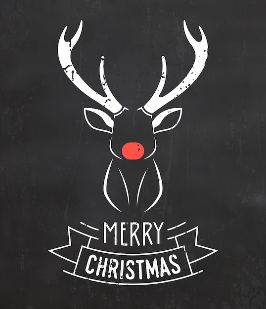 Christmas greeting with reindeer Premium Vector