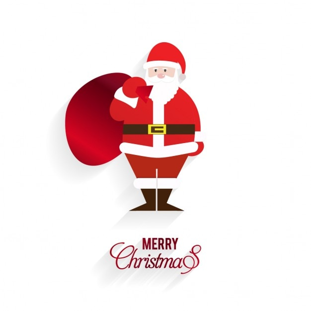 Christmas greeting with santa claus and a big red sack Free Vector