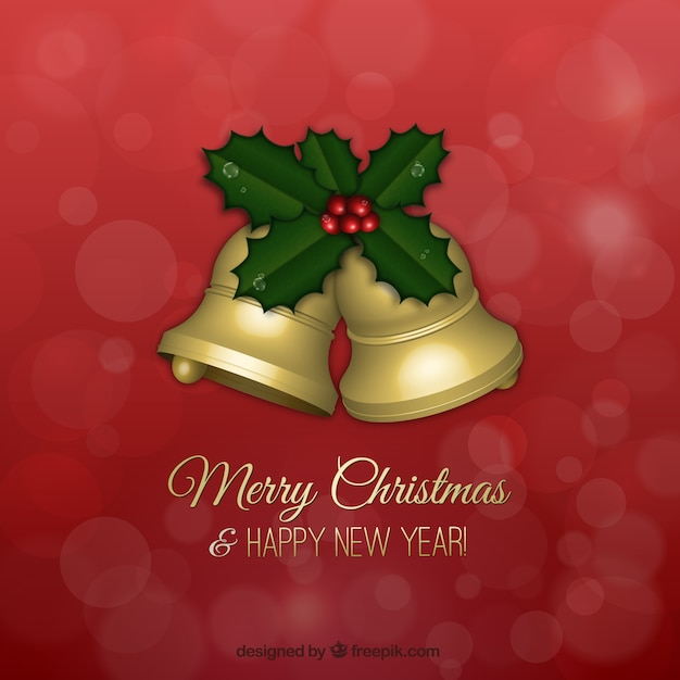Christmas greetings card with golden\ bells