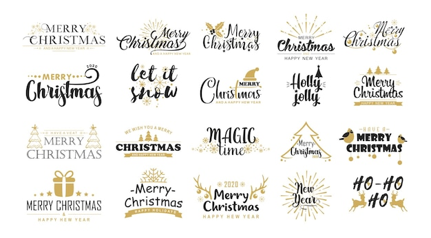 Christmas greetings flat vector stickers set. christmas messages, festive phrases, winter symbols. Premium Vector