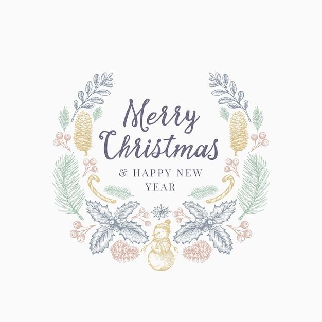 크리스마스 인사말 손으로 그린 스케치 화 환, 배너 또는 카드 템플릿. 무료 벡터