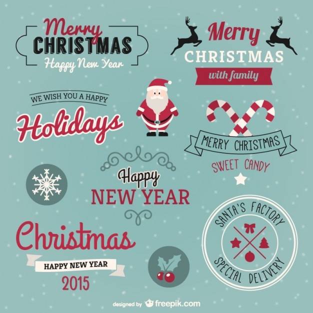 Christmas greetings pack Free Vector
