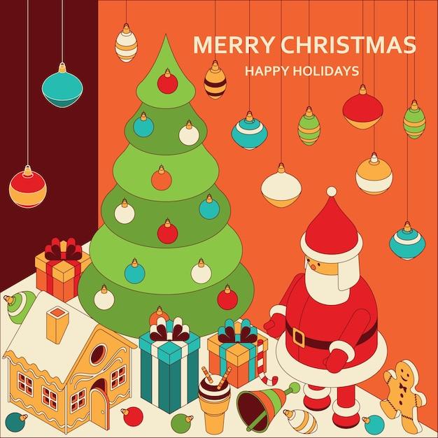 等尺性のかわいいおもちゃでクリスマスの挨拶面白いサンタとジンジャーブレッドハウスクリスマス Premiumベクター