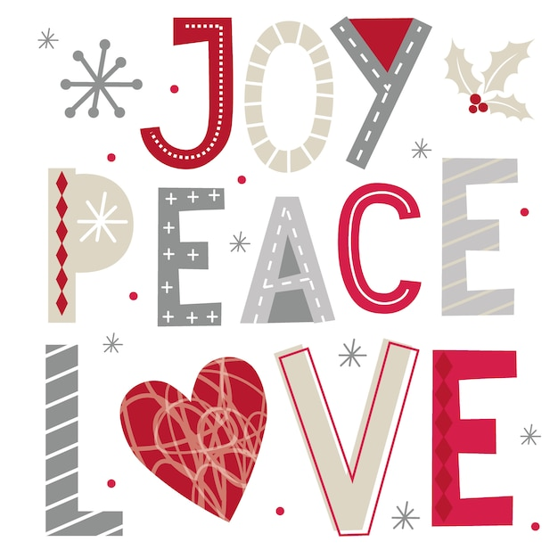 Christmas greetings with joy, peace and love typography Premium Vector