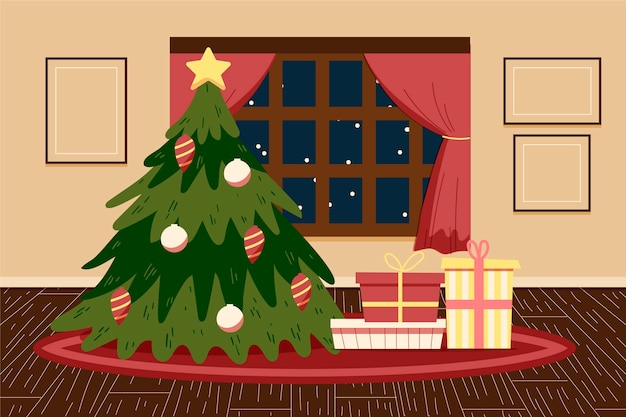 Christmas hand drawn background Free Vector