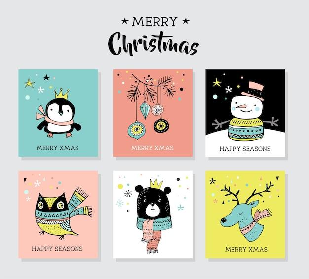 펭귄, 곰, 사슴 크리스마스 손으로 그린 귀여운 낙서, 삽화 및 인사말 카드 프리미엄 벡터
