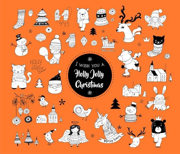 Рождественские рисованной милые каракули, наклейки, иллюстрации и элементы Premium векторы