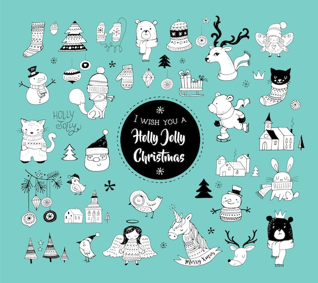 Christmas hand drawn cute doodles, stickers, illustrations and elements Premium Vector