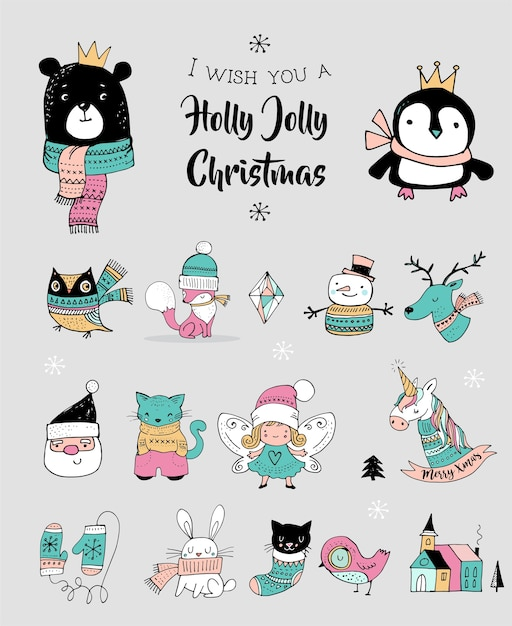 Christmas hand drawn cute doodles, stickers, illustrations. penguin, bear, cat and santa Premium Vector