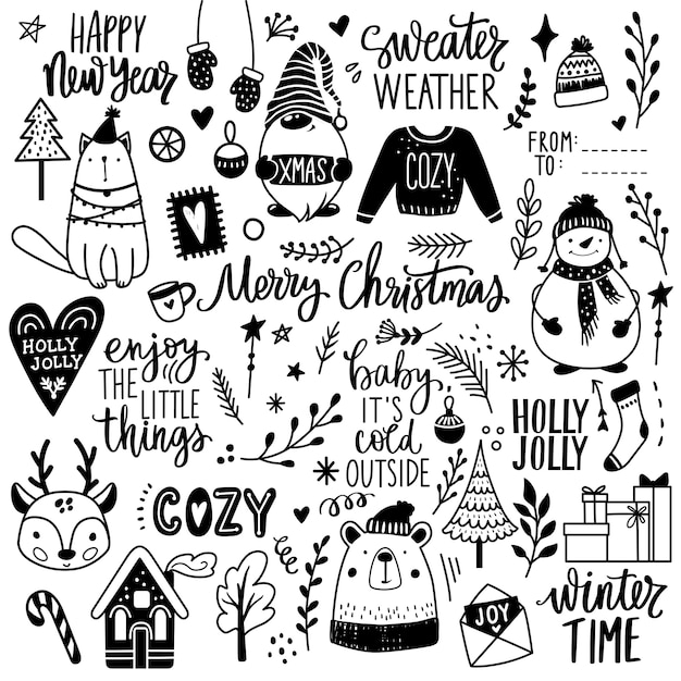Christmas hand drawn doodle illustration. xmas, happy new year set in sketch style. snowman, cute bear, gnome,ugly sweater, cat, lettering. decoration for winter holidays. Premium Vector
