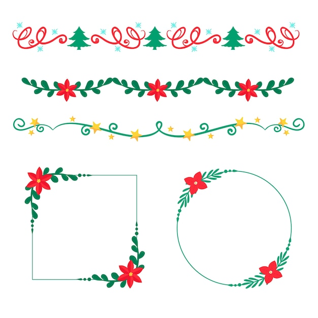 Christmas hand-drawn frames and borders Free Vector