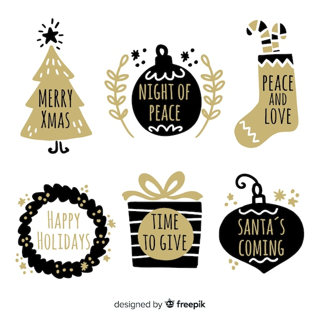 Christmas hand drawn golden labels pack Free Vector