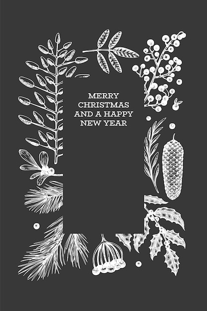 Christmas hand drawn greeting card template. Premium Vector
