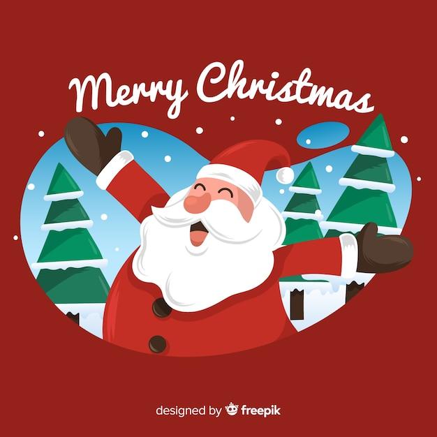 Christmas hand drawn smiling santa claus background Free Vector