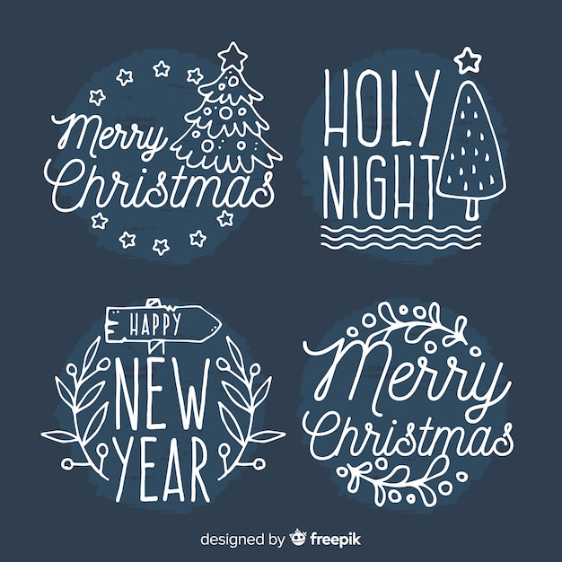 Christmas hand drawn stickers collection Free Vector