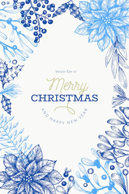 Christmas hand drawn template. Premium Vector