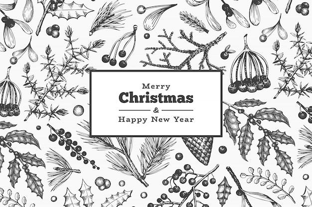 크리스마스 손으로 그린 벡터 인사말 카드 서식 파일. 빈티지 스타일 일러스트 프리미엄 벡터
