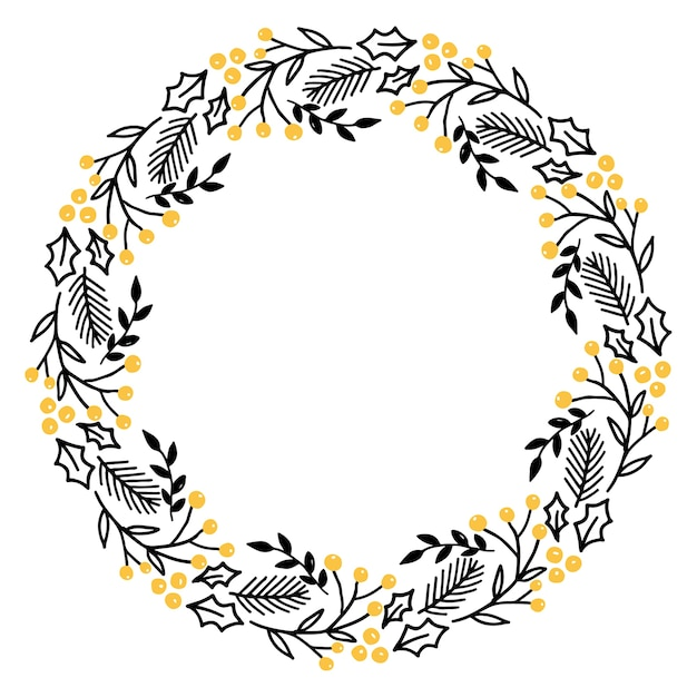 Christmas hand drawn wreath vector Premium Vector