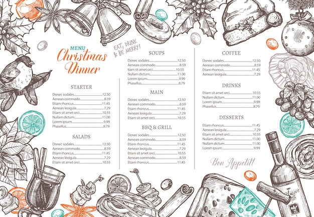 Christmas happy holiday layout of festive menu for festive dinner. Premium Vector