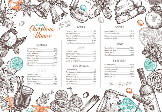 お祝いディナーのお祝いメニューのクリスマスハッピーホリデーレイアウト。 Premiumベクター