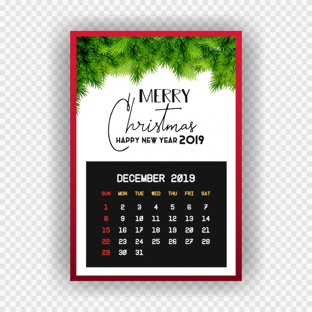 Christmas happy new year 2019 calendar december Free Vector
