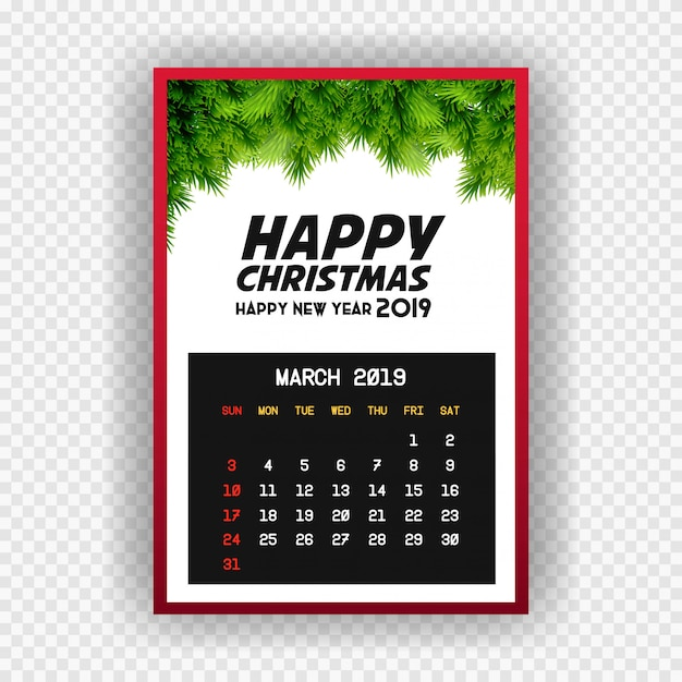 Christmas happy new year 2019 calendar march Free Vector