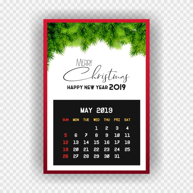 Christmas happy new year 2019 calendar may Free Vector