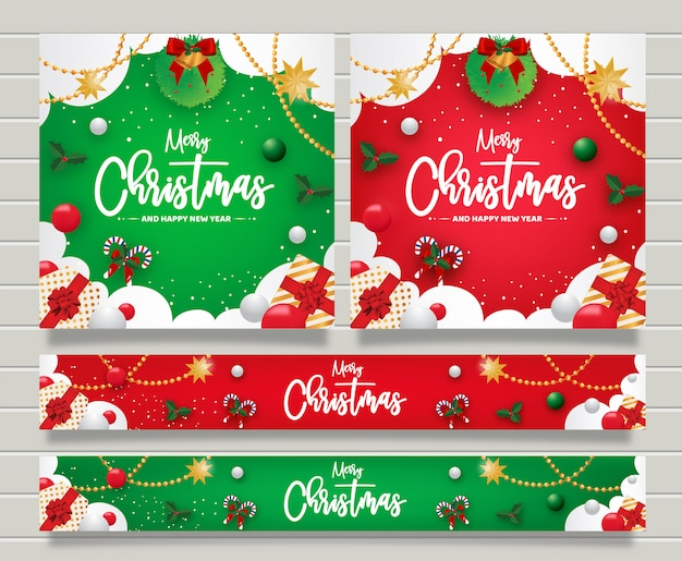 Christmas and happy new year greeting banner templte Premium Vector
