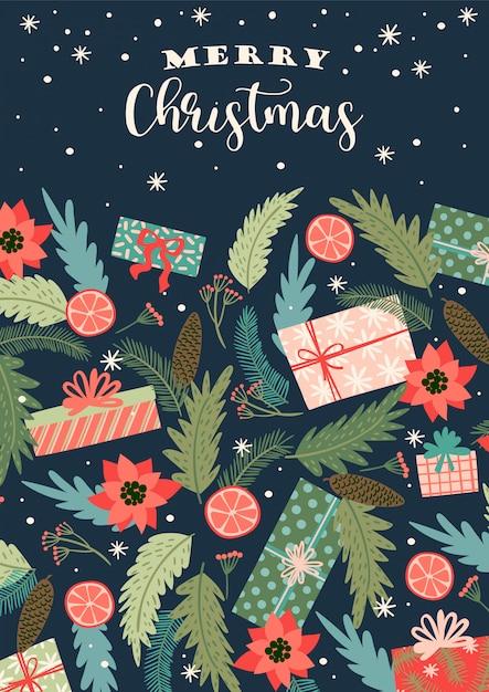 Christmas and happy new year illustration. trendy retro style. Premium Vector