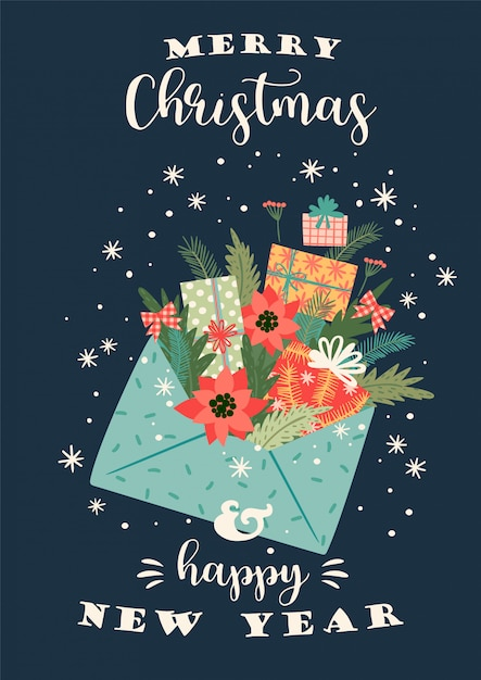 Christmas and happy new year illustration. vector design template. Premium Vector