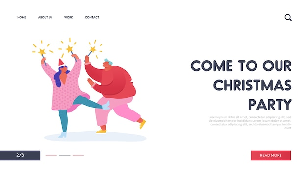 Christmas and happy new year party with people characters with 2020 year for web design, banner, mobile app, landing page. woman and man with fireworks celebration holidays. Premium Vector