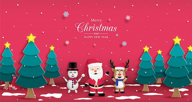 Christmas and happy new year poster Premium Vector