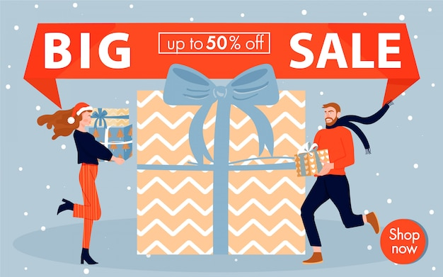 Christmas and happy new year sales banner. Premium Vector