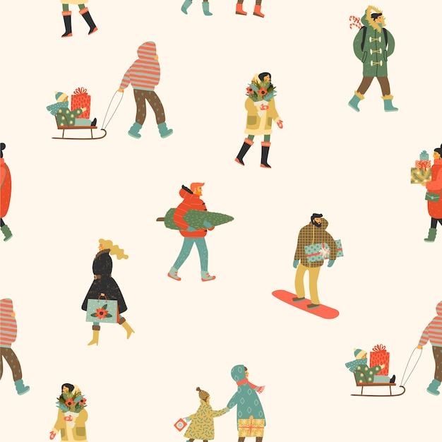 Christmas and happy new year seamless pattern whit people. Premium Vector