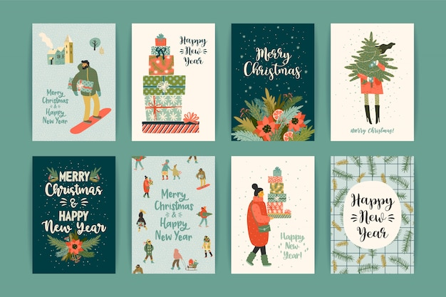 Christmas and happy new year templates. Premium Vector