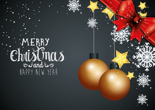 Christmas and happy new year with decoration car Premium Vector